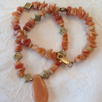 Earthy Nugget Beaded Semi-precious Pendant Necklace Red Aventurine Nuggets Antique Gold