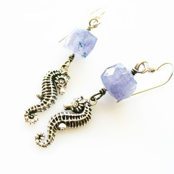 Seahorse Earrings, 925 Sterling Silver and Iolite, Ocean Inspired Jewelry, Beach Earrings, Cornflower Blue, Water Sapphire, Vikings Compass