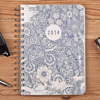 2014 Weekly Planner Calendar Diary Day Spiral A5 Floral Doodle This Day Planner - Valentine's day New Year Gift Idea
