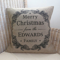 Personalised Vintage Style Christmas Cushion