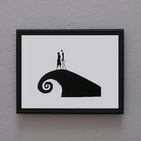 The Nightmare Before Christmas   Jack and Sally   Hand cut black silhouette papercut