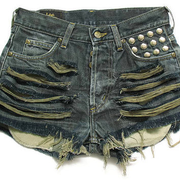 Lee shredded and studded high waisted shorts by deathdiscolovesyou