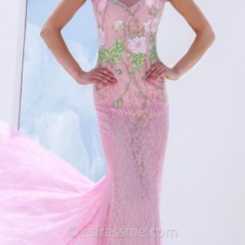 Flower Embroidered Prom Gown by Tony Bowls Le Gala