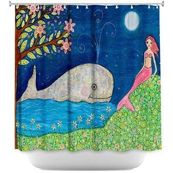 Shower Curtain Artistic Designer from DiaNoche Designs Stylish, Decorative, Unique, Cool, Fun, Funky Bathroom - Whale Mermaid