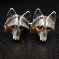 Wolf Mask Cuff Links Hand Polished Metal by mrd74 on Etsy
