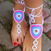 Hand crocheted sexy barefoot lace sandals made from cotton-viscose blend yarn (nr 22)