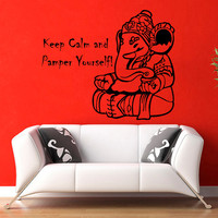 Ganesha Lord Wall Decals Indian Elephant Quote Keep Calm And Pamper Yourself Vinyl Decal Sticker Home Interior Kids Nursery Room Decor KG796