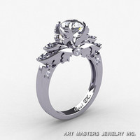 Classic Angel 14K White Gold 1.0 Ct CZ Diamond Solitaire Engagement Ring R482-14KWGDCZ
