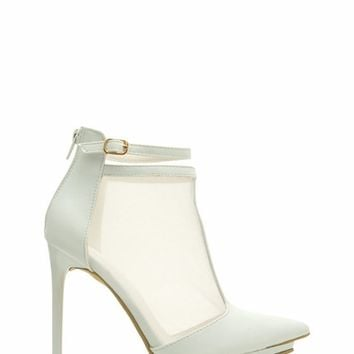 Mesh T-Strap Faux Leather Heels