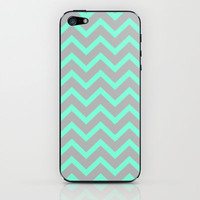 Tiffany Mint Grey Zigzag Chevron Pattern iPhone & iPod Skin by Rex Lambo | Society6