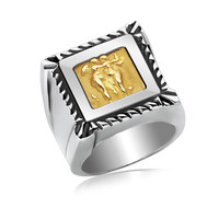 18K Yellow Gold and Sterling Silver Ring with a Square Cable Bordered Head