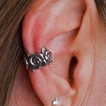 Silver Rose Ear Cuff by martymagic on Etsy