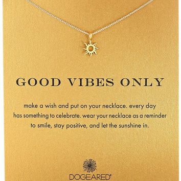 """Dogeared """"Reminder"""" Good Vibes Only Gold Sun Charm Pendant Necklace, 16"""""""