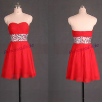 Short red chiffon homecoming dress with rhinestones,2014 cheap sweetheart prom gowns,chic women dress for holiday party hot.