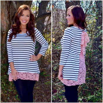 Mary Lacy Striped Tunic Top
