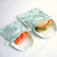 Sandwich and Snack Bags, Aqua Blue - Reusable, Organic, Eco Friendly - Set of 2 --- Back to School