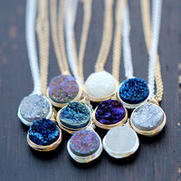 Druzy Bezel Pendant Necklaces