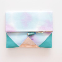 SUNSET 62 / Shibori dyed cotton & Natural leather folded clutch bag - Ready to Ship
