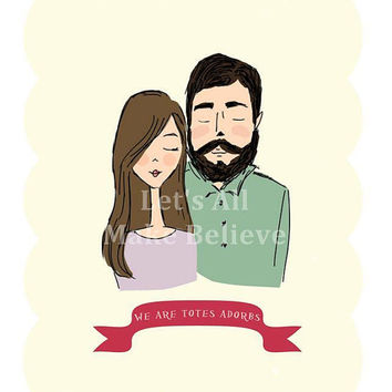 Holidays Valentine Decoration Totes Adorbs Digital Illustration Print Cute Couple Portrait Drawing Love Print for Valentines Day