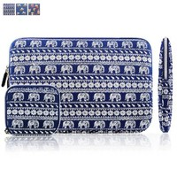 Kamor® 13 13.3 13.3'' 14 inch Bohemian Style Animal World (Elephant Blue) MacBook Air MacBook Pro Canvas Fabric Sleeve Case Cover Shell - Superior Protection Laptop Sleeve Case Bag / Notebook Computer Case / Briefcase Carrying Bag / Ultrabook Laptop Bag Ca
