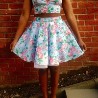 Blue Floral Triangle Bralette Crop Top & Skirt Set | Style Icon`s Closet