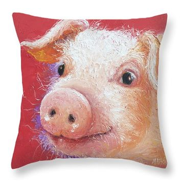 "Pink Pig painting Throw Pillow 14"" x 14"""