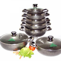 Non-Stick Aluminium Rounded Cooking Pot / Casserole w/ Glass Cover - Various Sizes