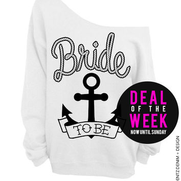 Anchor Bride - White Off The Shoulder Slouchy Sweatshirt