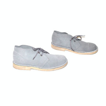 size 7.5 MINIMALIST suede desert booties vintage 80s blue grey LEATHER preppy flat OXFORD chukka ankle boots