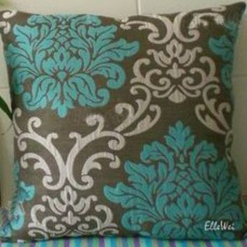 ElleWeiDeco Modern Brown Cadetblue Damask Throw Pillow Cover