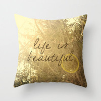 decorative pillow cover-home decor-art pillow- sunshine-typography-nature photo-yellow- Life is Beautiful