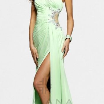 Strapless Embellished Pleated Evening Dresses by Faviana
