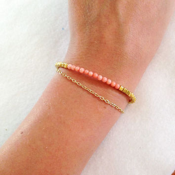 Coral and Gold Chain Bracelet