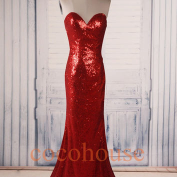 Red Sequins Lace Mermaid Long Prom Dresses ,Fashion Evening Dresses ,Formal Party Dresses,Beaded Red Carpet Dresses , Wedding Party Dresses