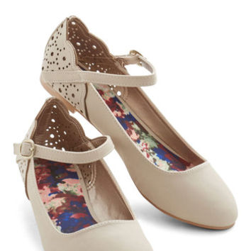 ModCloth Darling Savor Your Favorite Flat in Sand