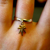 Weed leaf Dangle Charm Ring by PenelopeMeatloaf on Etsy