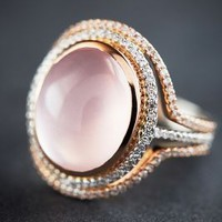 One-of-a-Kind Diamond and Rose Quartz Halo Ring in 14k Gold by Liven Co. Rose Gold One Size Jewelry