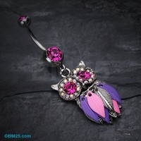 Vibrant Owl Feather Sparkle Belly Ring