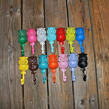"""Bright Whimsical """"OWL"""" Wall Hooks by AquaXpressions"""