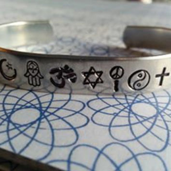 coexist bracelet made of  islam symbol, hamsa, om, david, peace and love, yin yang, ankh or christian cross, gender