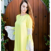 Falicity - Yellow shift dress with bell sleeves and lace trim details. Also available in white.