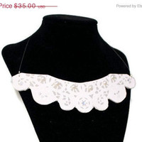 """Christmas in July Sale Lace Collar Necklace: """"Queen Elizabeth"""" Gray and White Embellished Bib Necklace"""