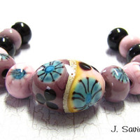 Lampwork Beads Set with Floral Murrini Focal plus by JSavinaBeads