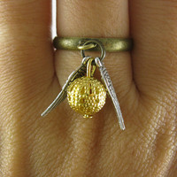 Golden Snitch Ring In Silver Steampunk Harry by BeautyandLuck