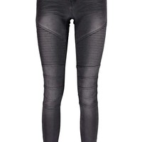 Evie Low Rise Superskinny Charcoal Biker Jeans