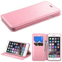 Book-Style Flip Stand Leather Wallet iPhone 6 Plus Case - Pink