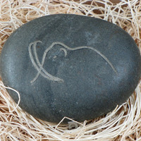 Engraved Mammoth Stone River Rock Art by JourneyProductions