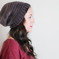 Crochet Slouchy Unisex Hat Beanie With a Rolled Brim Winter Accessories