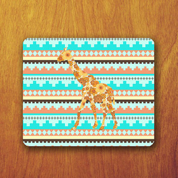 Floral Giraffe Color Aztec Tribal Mouse PAD Vintage Indian Flower Animal Mousepad Desk Deco Office Work Rubber Mat Personal Computer Gift