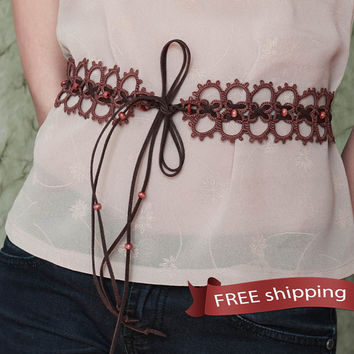 FREE shipping. Belt handmade for women. Delicate lace tatting belt, boho style, gift handcraft. 4 colors -  Brown, Black, Navy blue, Gray
